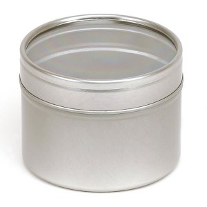 Silver Round Candle Tin With Window Lid - 100ml 10/50 Tins