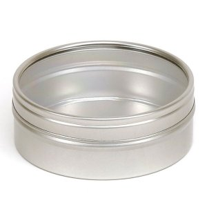 Silver Round Candle Tin With Window Lid - 125ml 10/50 Tins