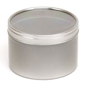 Silver Round Candle Tin With Window Lid - 250ml 10/50 Tins
