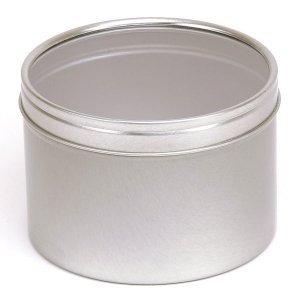 Silver Round Candle Tin With Window Lid - 400ml 10/50 Tins