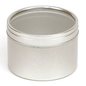 Silver Round Candle Tin With Window Lid - 50ml 10/50 Tins