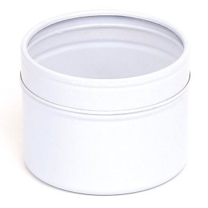 White Round Candle Tin With Window Lid - 100ml 10/50 Tins