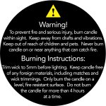 50mm Candle Safety Label - BLACK / White Text