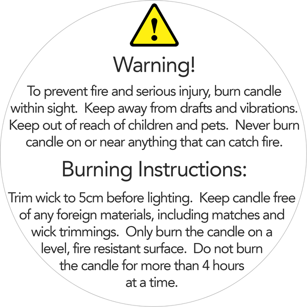 50mm Candle Safety Label White Black Text Cosy Owl