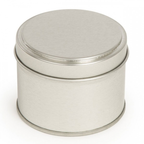 Silver Round Candle Tin With Welded Side Seam - 100ml