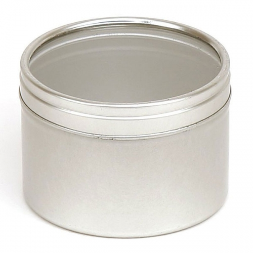 Silver Round Candle Tin With Window Lid - 50ml