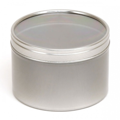 Silver Round Candle Tin With Window Lid - 250ml