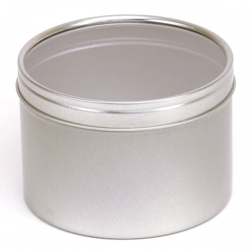 Silver Round Candle Tin With Window Lid - 400ml