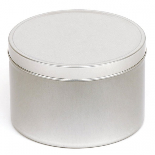 Silver Round Candle Tin - 250ml