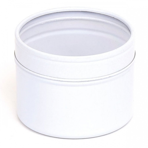 White Round Candle Tin With Window Lid - 100ml