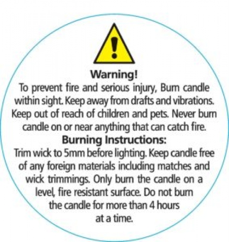 50mm Candle Safety Label - WHITE / Black Text